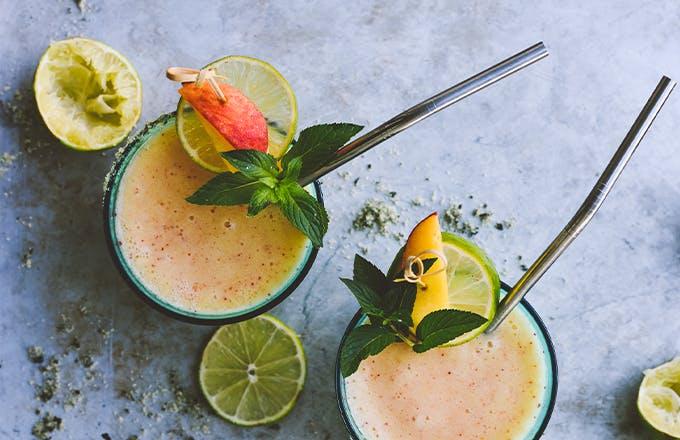 Grilled Summer Peach Margaritas